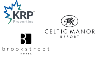 Logos of KRP Properties, Celtic Manor Resort, and Brookstreet Hotel